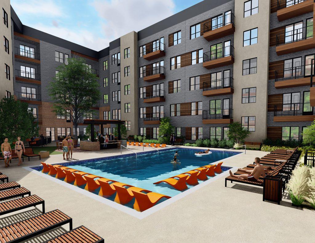 Alexan Summit exterior pool and courtyard rendering