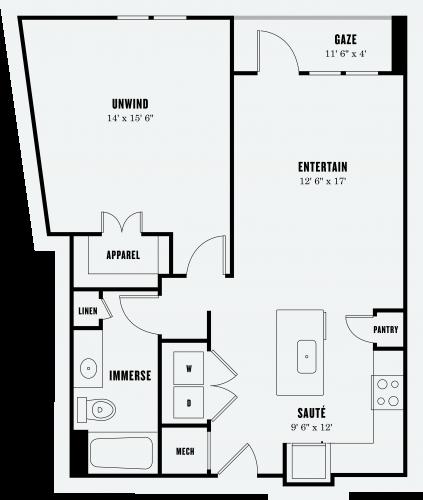 Alexan Summit One Bedroom Floor Plan A3a