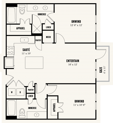 Alexan Summit Two Bedroom Floor Plan B1