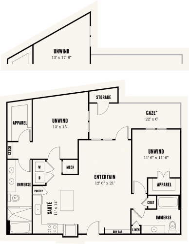 Alexan Summit Two Bedroom Floor Plan B3a