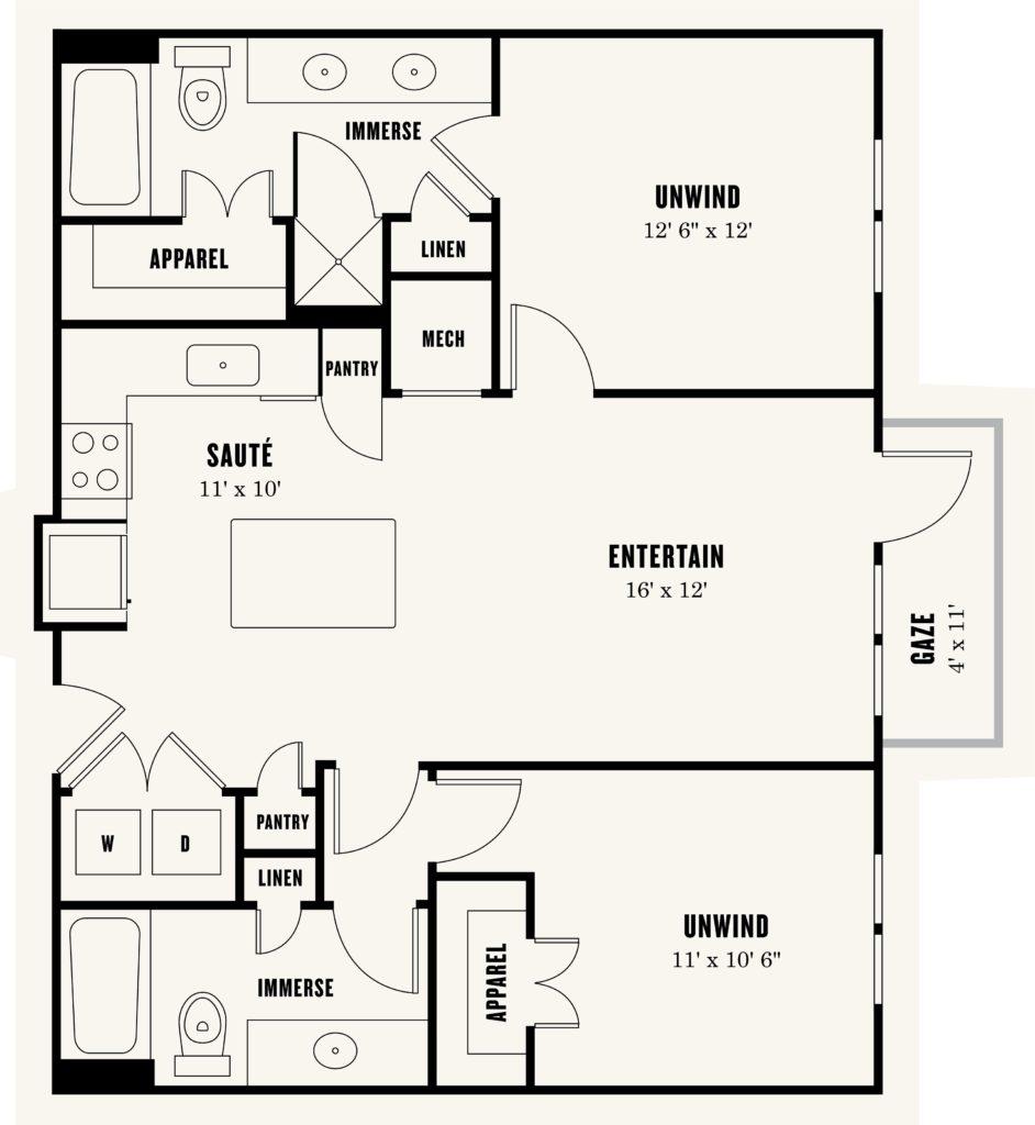 Alexan Summit Two Bedroom Floor Plan
