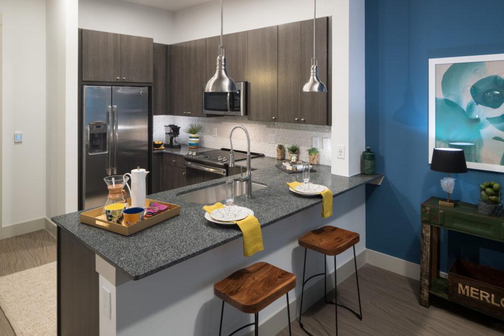 Alexan Summit apartment kitchen