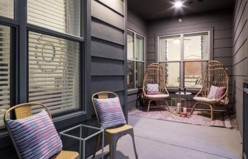 Stylish private balcony at Alexan Summit - Step Into Stylish Comfort
