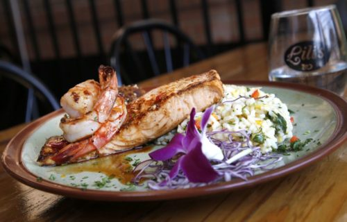 shrimp over salmon and risotto - Lili's Bistro Near Alexan Summit